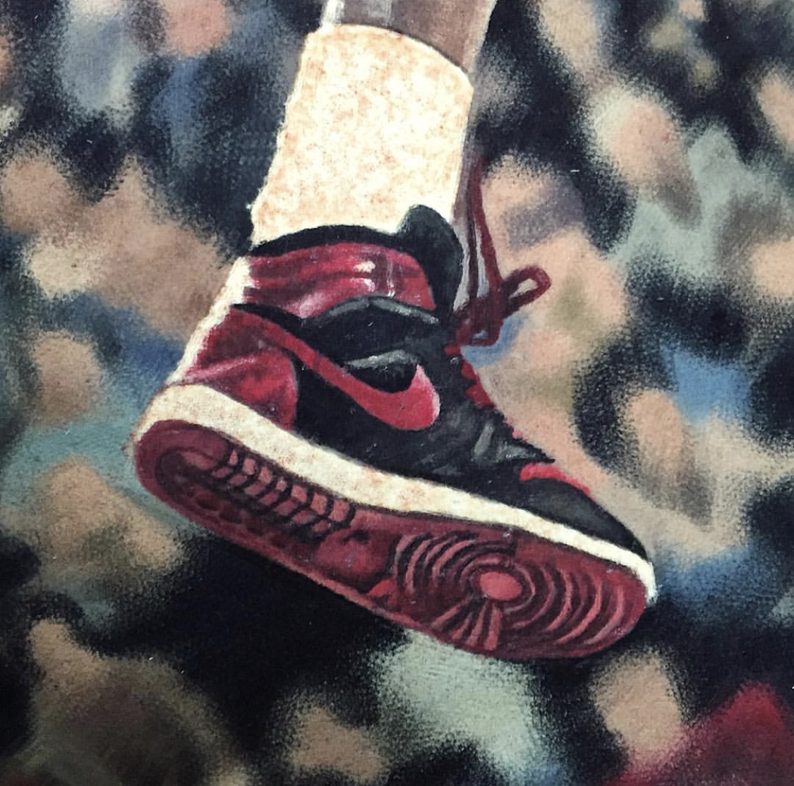 In this closeup you can see the smooth consistency of the softly focused background, where care was taken to avoid making sharp edges, and how strongly that sets out the sharply focused shoe in the foreground