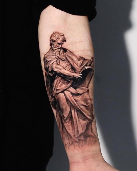 St. Matteo Scar Coverup Tattoo Design Thumbnail