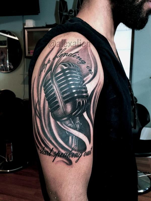 vintage microphone by alex alien tattoonow. Black Bedroom Furniture Sets. Home Design Ideas