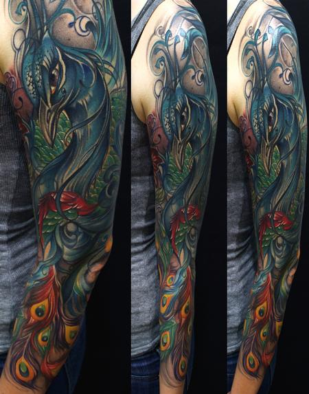 Tattoos - Peacock Sleeve Color Tattoo - 63936