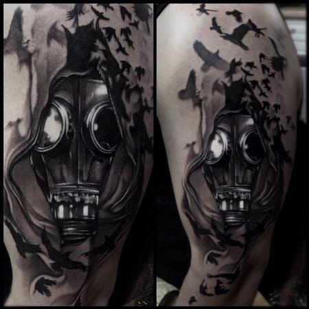 Tattoos - Gasmask Black and gray tattoo  - 80762