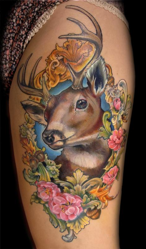 Deer in floral frame tattoo by Aubrey Mennella: TattooNOW :