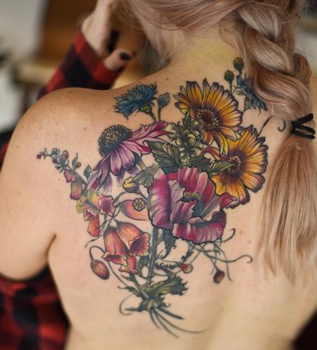Aubrey Mennella - echinacea foxgloves poppy botanical flower tattoo