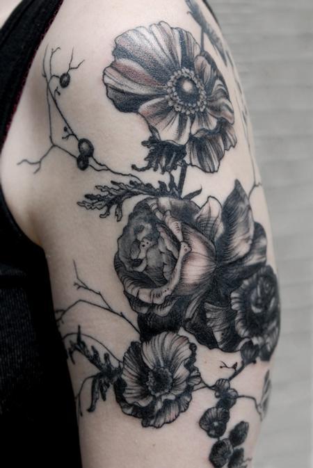 Tattoos - poppy blackworks vintage floral tattoo - 131961