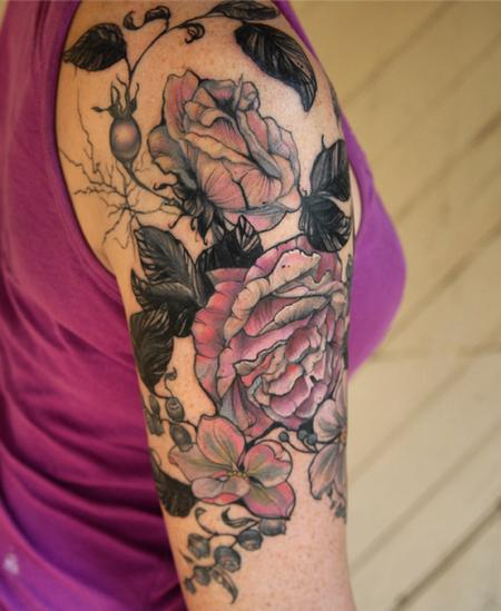 Tattoos - vintage botanical rose flower tattoo - 131966