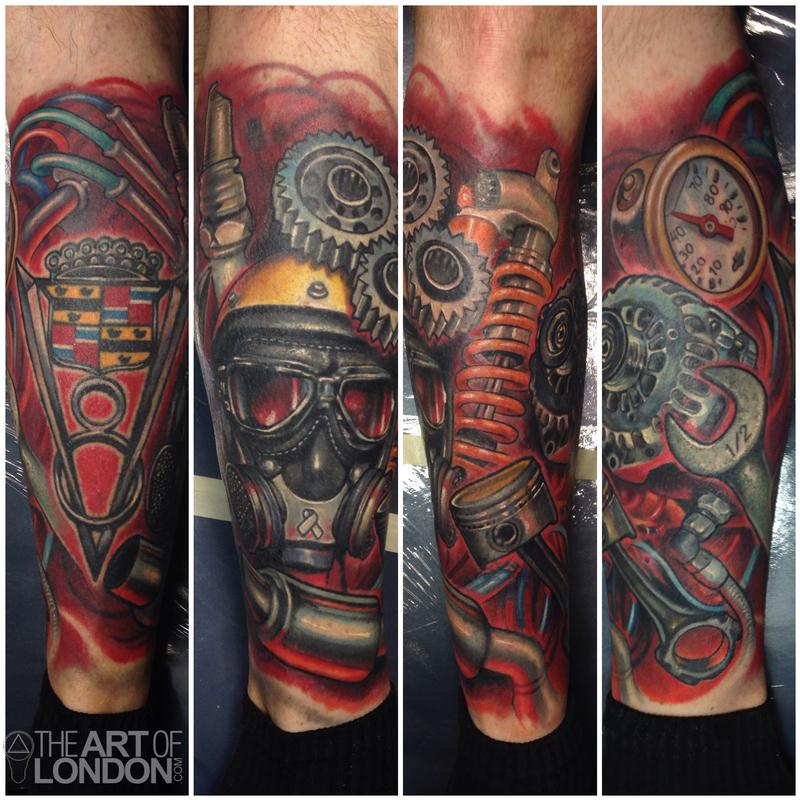 Automotive Gear Head Car Engine Parts by London Reese: TattooNOW :