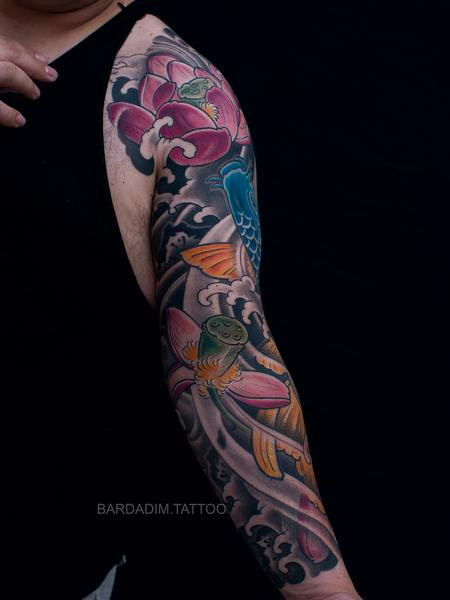 Tattoos - Japanese Sleeve Koi and Lotus - 134216