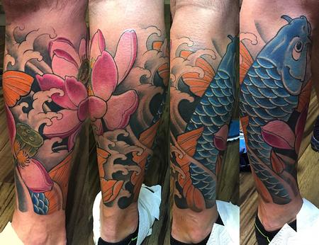 Tattoos - Bue Koi Leg Sleeve - 130303