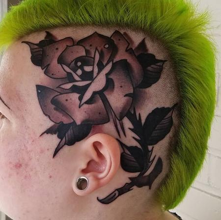 Tattoos - head rose tattoo - 134143