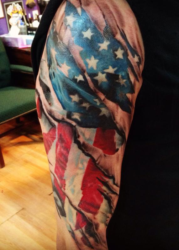 84769863555e0 American Flag Realistic Tattoo Skin Tear by Kyle Grover: TattooNOW :