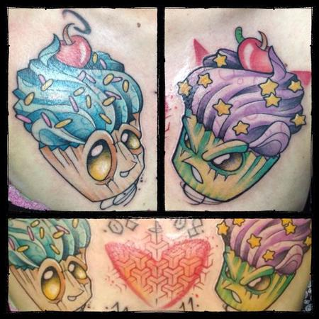 Tattoos - good and evil cupcake - 103519