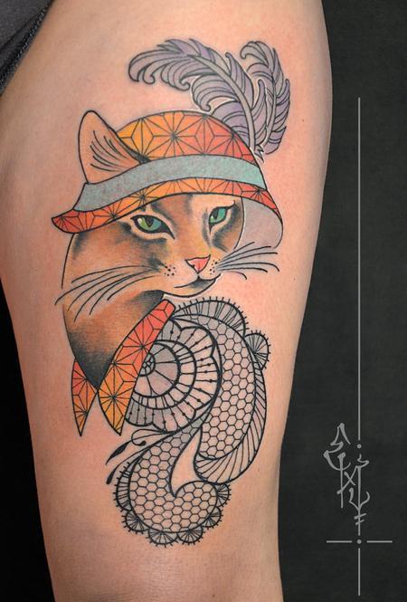 Tattoos - 1920's cat - 123607