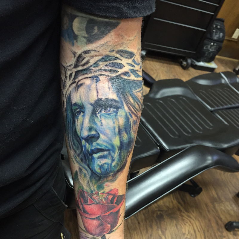 Colored Jesus Christ with Thorns by Capone: TattooNOW :