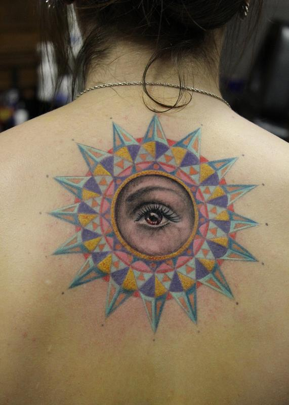 78b1aacf4 Geometric Sun and Eye by Capone: TattooNOW :