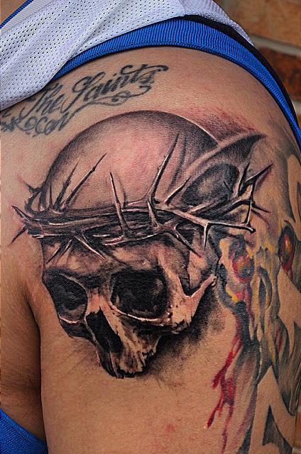 6aecab628 Black And Grey Skull Tattoo by Capone: TattooNOW :