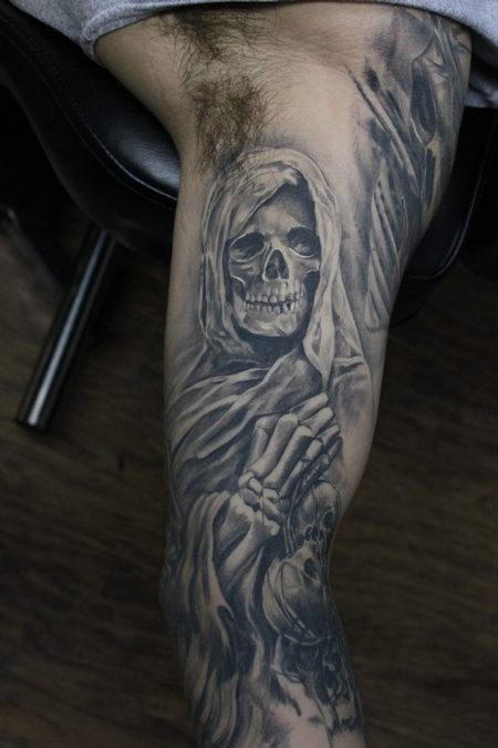 Tattoos - Healed Black And Grey Grim Reaper Sleeve - 119129
