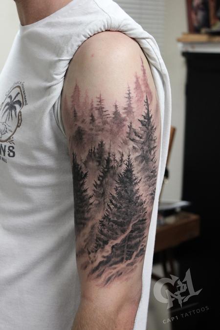 Tattoos - Pine tree forest tattoo - 132667