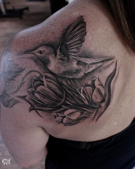 Tattoos - Hummingbird and Flowers Tattoo - 130062