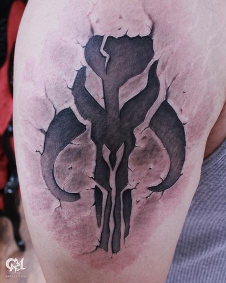 Tattoos - Star Wars Mandalorian skull Tattoo  - 128869