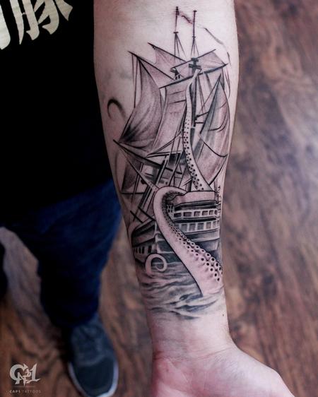 Tattoos - Ship and Octopus Tattoo Sleeve - 130059