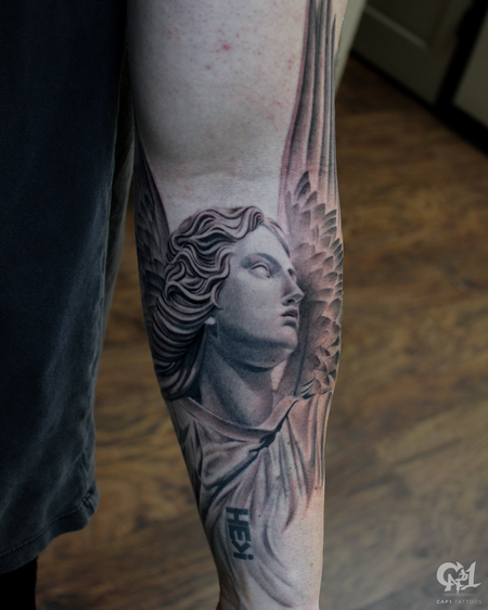 Tattoos - Stone Angel Half Sleeve Tattoo - 130065