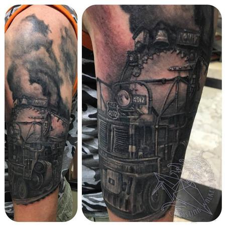 Christina Walker - Black and Gray Train Half Sleeve