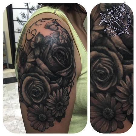 Christina Walker - Black and Gray Floral Half Sleeve