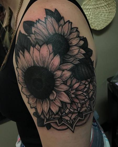 Christina Walker - Sunflower and mandala upper arm piece
