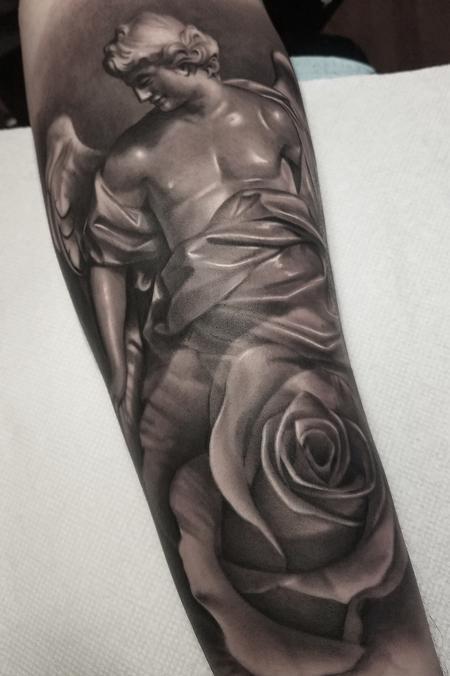 Tattoos - Black and Grey Angel Tattoo - 130637