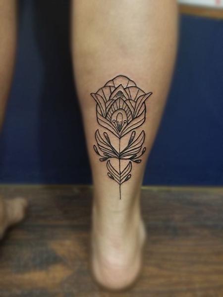 Tattoos - Simple linework flower - 133570