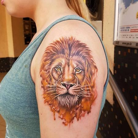 Tattoos - Watercolor Lion Tattoo - 133849