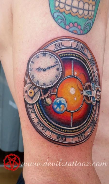 Tattoos - Astronomical clock / watch tattoo - 93238
