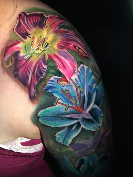 Tattoos - color flower tattoo - 130639