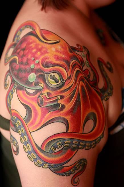 Durb - Color Octopus Shoulder Tattoo