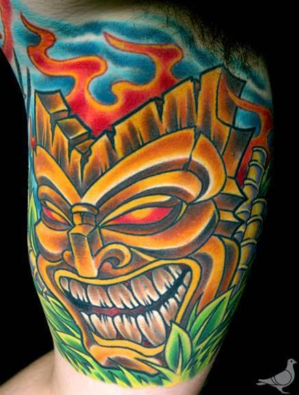Durb - Color Tiki Mask Tattoo