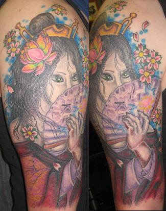 Evil geisha by brian gallagher tattoonow for Living dead tattoo haverstraw ny