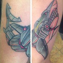 Robot shark by brian gallagher tattoonow for Living dead tattoo haverstraw ny