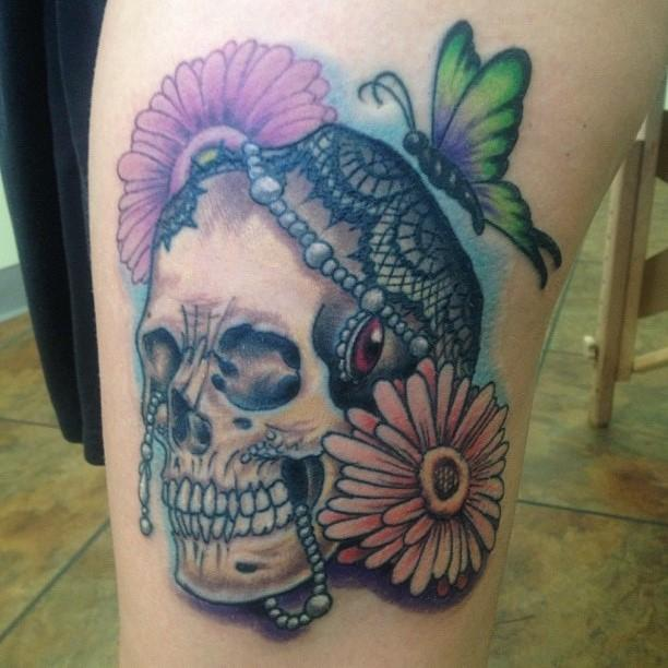 Lace skull and flowers by brian gallagher tattoonow for Living dead tattoo haverstraw ny
