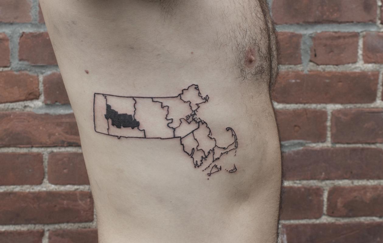 Massachusetts outline tattoo on ribs by ben licata tattoonow ben licata massachusetts outline tattoo on ribs gumiabroncs Choice Image