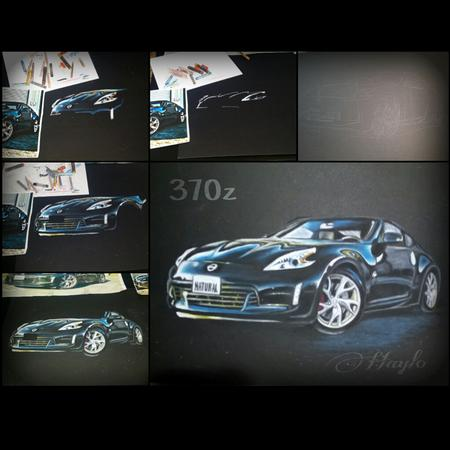 Haylo - Nissan 370 Z on black illustration board in Oil Pastels