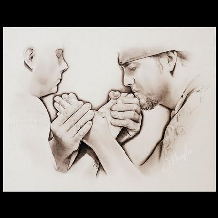 Haylo - Pencil Graphite drawing of two arm wrestlers, Scott Warren vs AJ Warren