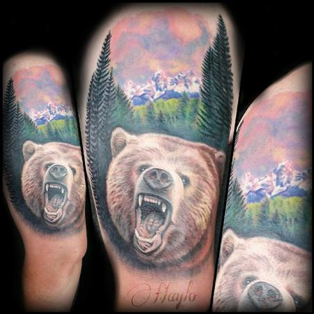 Haylo - Grizzly Bear and Tetons Mountain range piece complete