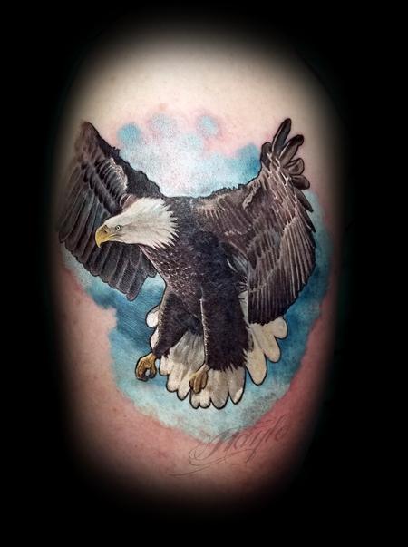 Tattoos - Realistic colored bald eagle 1/2 sleeve - 131821