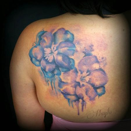 Haylo - Watercolor style larkspur floral tattoo