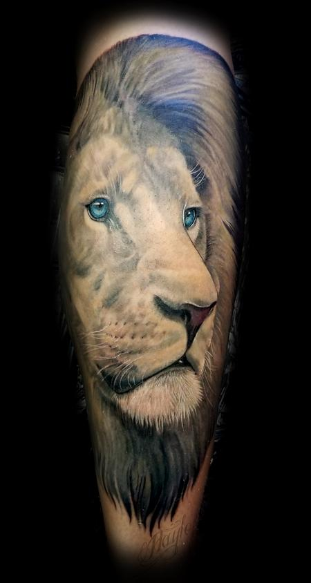 Tattoos - Realistic African Male Lion calf piece - 131823