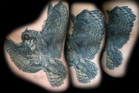 Tattoos - Black and Gray realistic owl rib piece - 131824