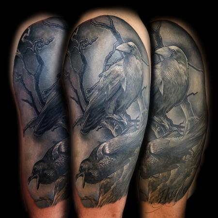 Tattoos - Black and gray realistic style ravens half sleeve - 133176
