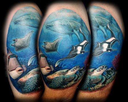 Tattoos - Underwater, seascape with sea life half sleeve - 131826