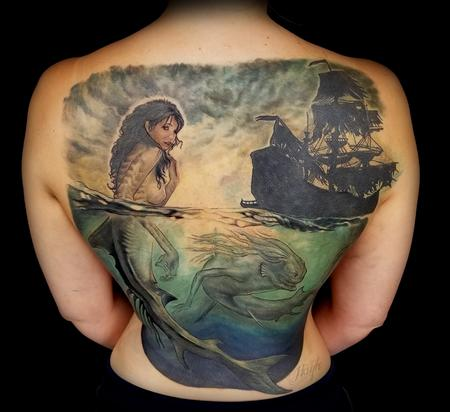 Tattoos - Siren and ghost ship cover up piece - 131840