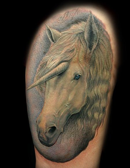Tattoos - Realistic style full color Unicorn Thigh piece - 133177